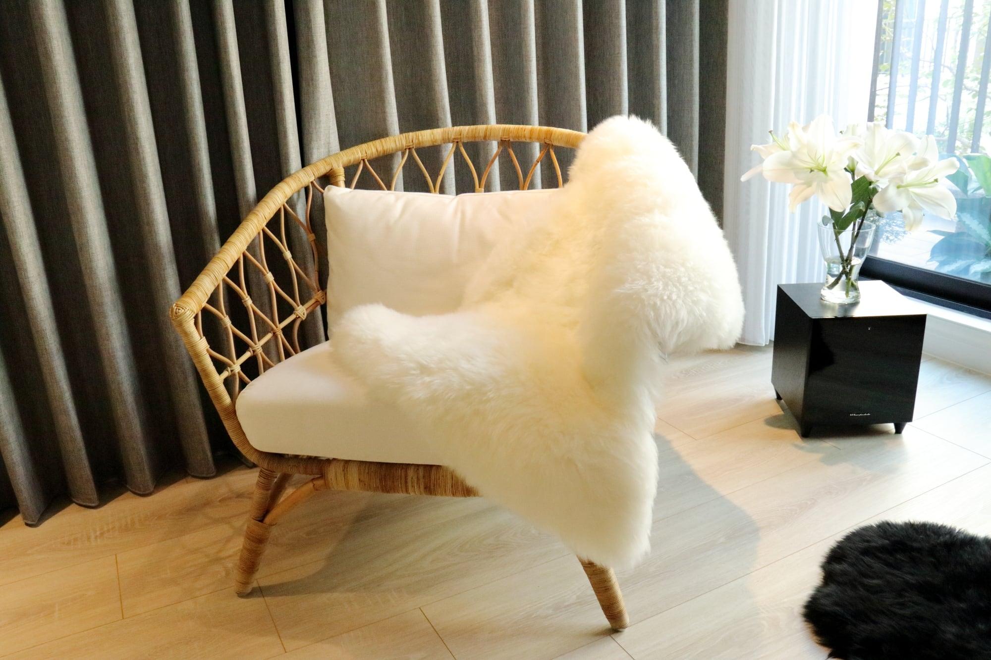 美麗諾羊毛皮毯-白色單拼