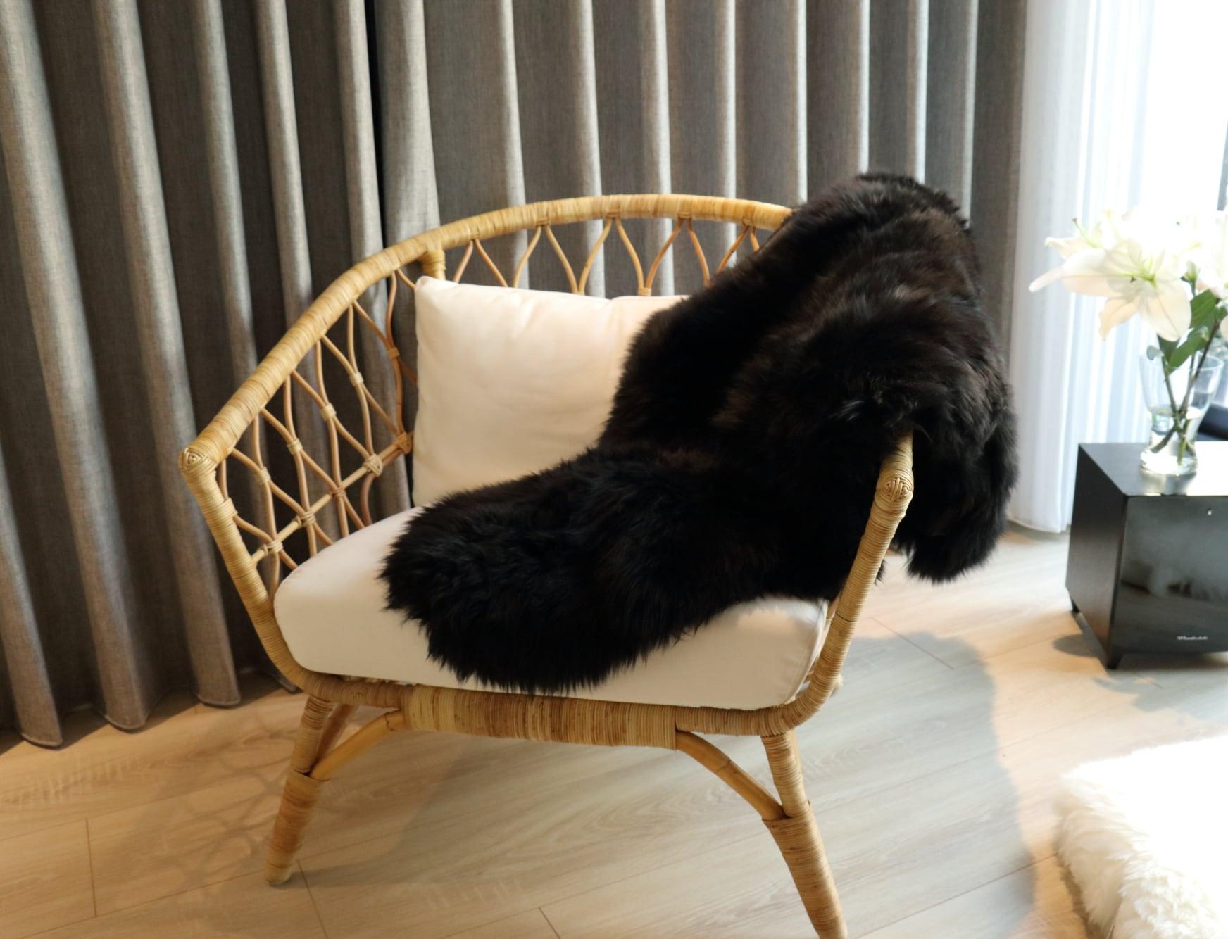 美麗諾羊毛皮毯-黑色雙拼